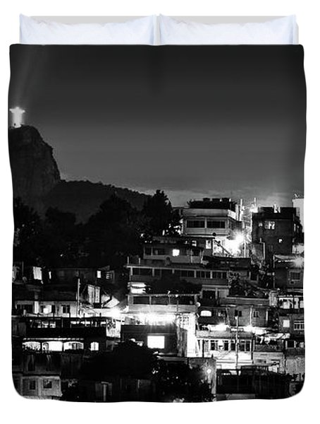 Rio De Janeiro - Christ The Redeemer On Corcovado, Mountains And Slums Duvet Cover