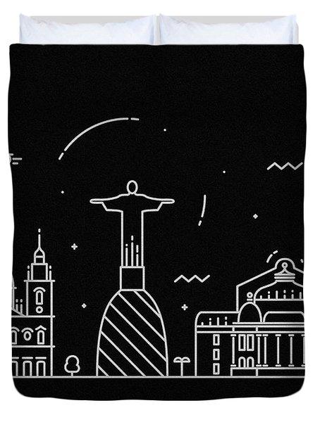 Rio De Janeiro Skyline Travel Poster Duvet Cover