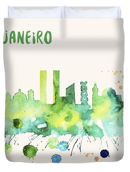 Rio De Janeiro Skyline Watercolor Poster - Cityscape Painting Artwork Duvet Cover
