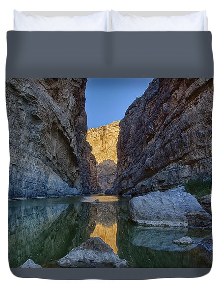 Duvet Cover featuring the tapestry - textile Rio Grand - Big Bend by Kathy Adams Clark