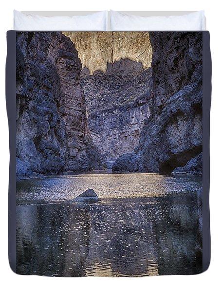 Duvet Cover featuring the tapestry - textile Rio Grand, Santa Elena Canyon Texas by Kathy Adams Clark