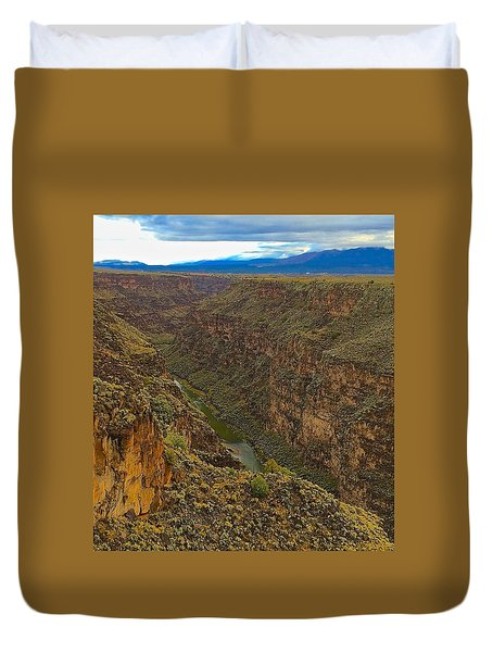 Rio Grande Gorge Just After Dawn Duvet Cover by Brenda Pressnall