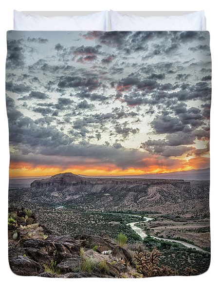 Rio Grande River Sunrise 2 - White Rock New Mexico Duvet Cover by Brian Harig