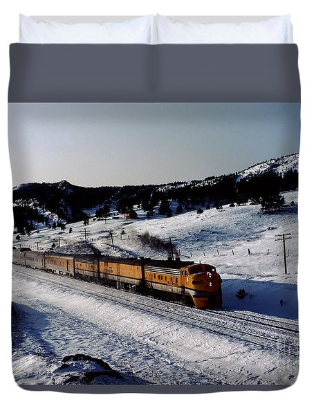 Rio Grande Zephyr Trainset In The Snow, Plainview Colorado, 1983 Duvet Cover