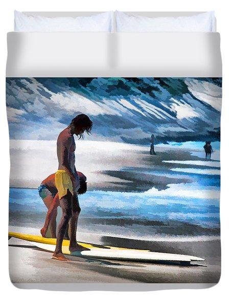 Rio Surfers Duvet Cover by Dennis Cox