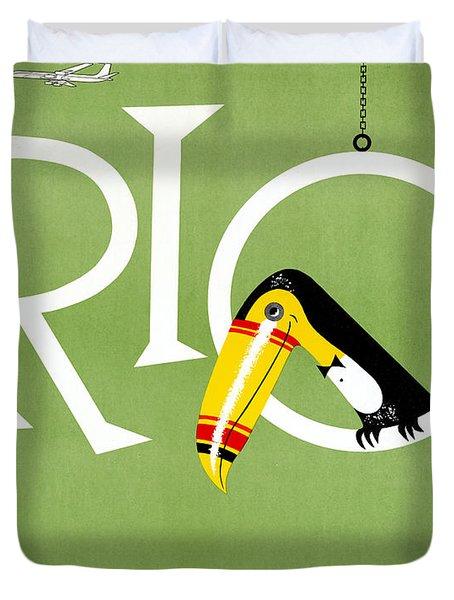Rio Vintage Travel Poster Restored Duvet Cover