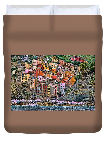 Duvet Cover featuring the photograph Riomaggiore by Allen Beatty