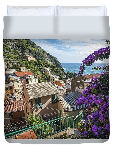 Duvet Cover featuring the photograph Riomaggiore Town by Brad Scott
