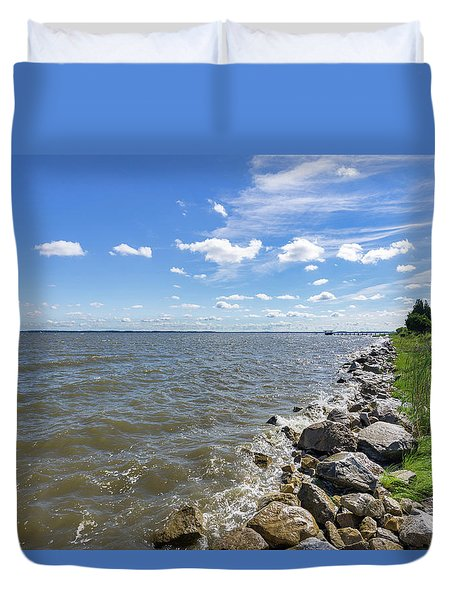 Duvet Cover featuring the photograph Rip-rap On The Chester River by Charles Kraus