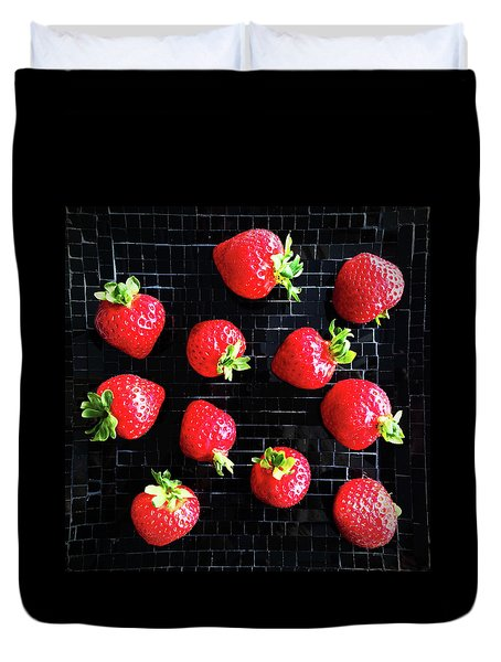 Ripe Strawberries On Back Plate Duvet Cover by GoodMood Art