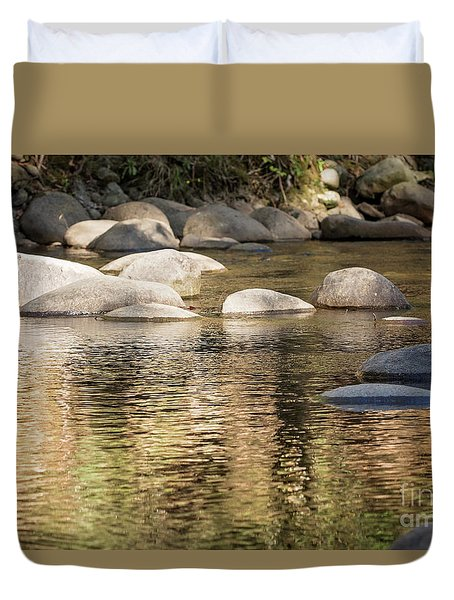 Duvet Cover featuring the photograph Ripples And Rocks by Linda Lees