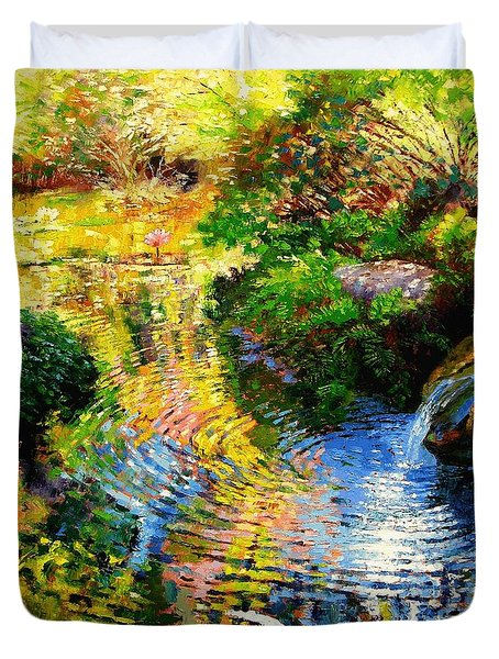 Ripples On A Quiet Pond Duvet Cover by John Lautermilch
