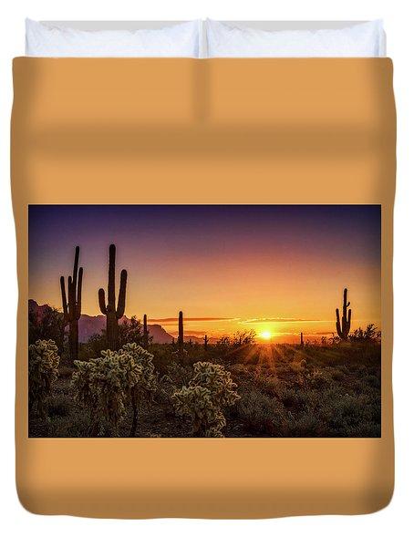 Duvet Cover featuring the photograph Rise And Shine Arizona  by Saija Lehtonen