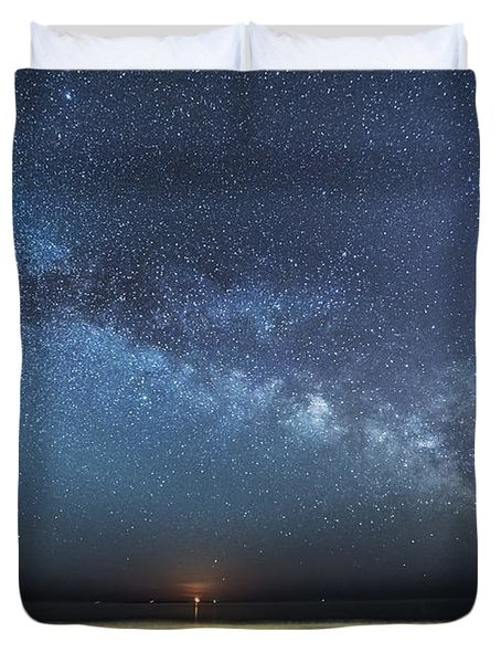 Rising Tide Rising Moon Rising Milky Way Duvet Cover by Patrick Fennell