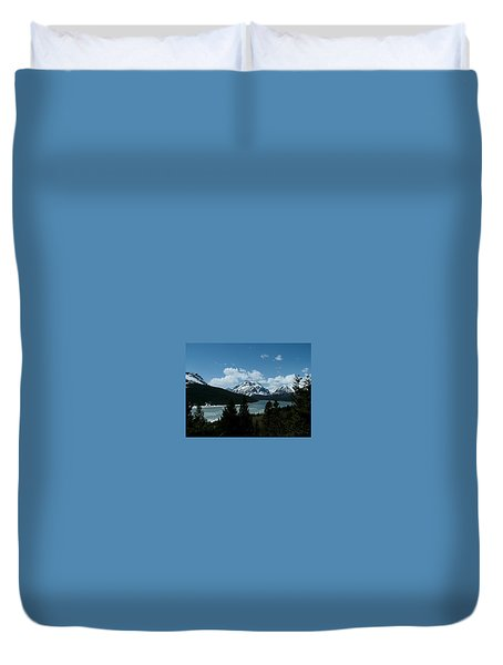 Rising Wolf And Two Medicine Lake Duvet Cover