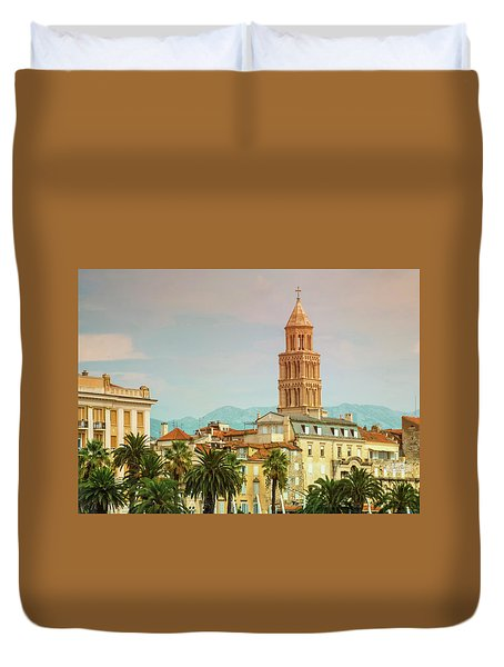 Riva Waterfront, Houses And Cathedral Of Saint Domnius, Dujam, D Duvet Cover