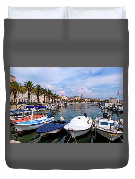 Riva Waterfront, Houses And Cathedral Of Saint Domnius, Dujam, Duje, Bell Tower Old Town, Split, Croatia Duvet Cover by Elenarts - Elena Duvernay photo