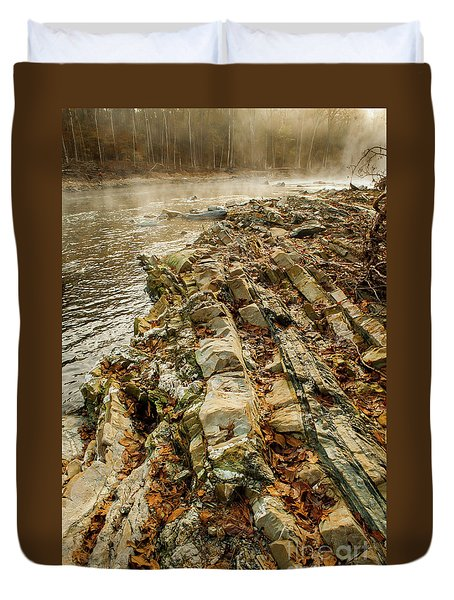 Duvet Cover featuring the photograph River Bank by Iris Greenwell