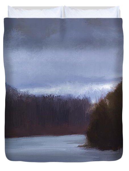 River Bend In Winter Duvet Cover