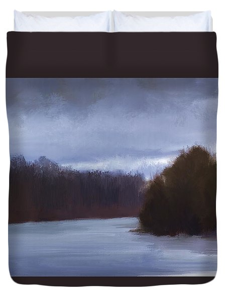River Bend In Winter Duvet Cover