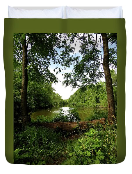 River Bend Seating Duvet Cover by Kimberly Mackowski