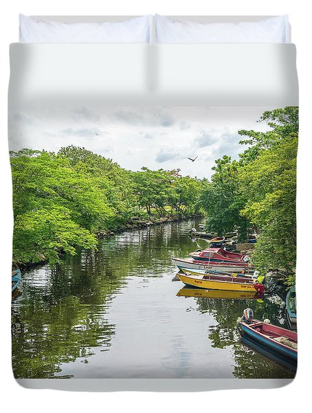 River Boat Dock Duvet Cover