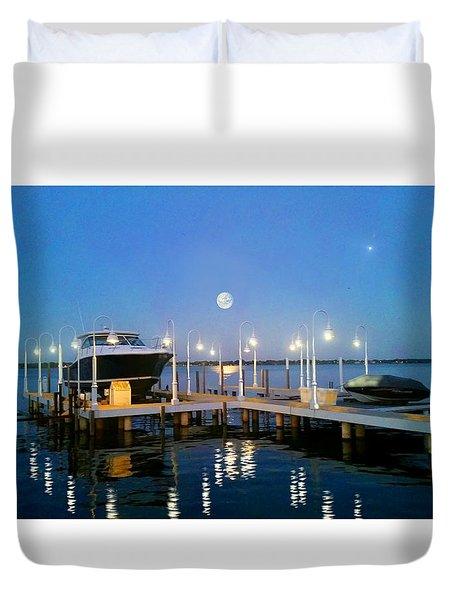 River Boat Dock Duvet Cover by Michael Rucker