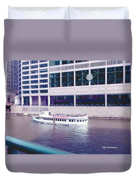 Duvet Cover featuring the photograph River Boat Tour by Elly Potamianos