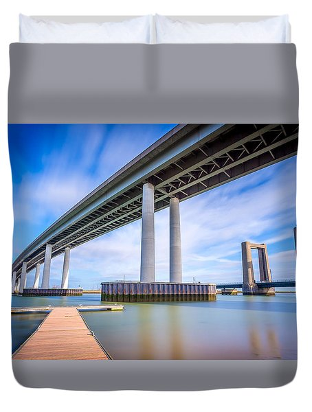Duvet Cover featuring the photograph River Bridges by Gary Gillette