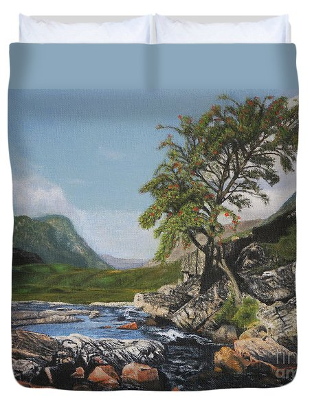 River Coe Scotland Oil On Canvas Duvet Cover