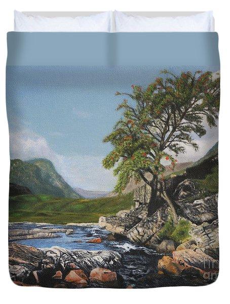 River Coe Scotland Oil On Canvas Duvet Cover