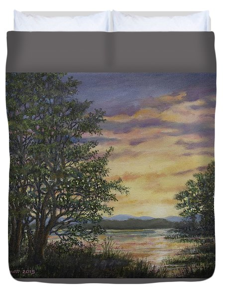 River Cove Sundown Duvet Cover by Kathleen McDermott