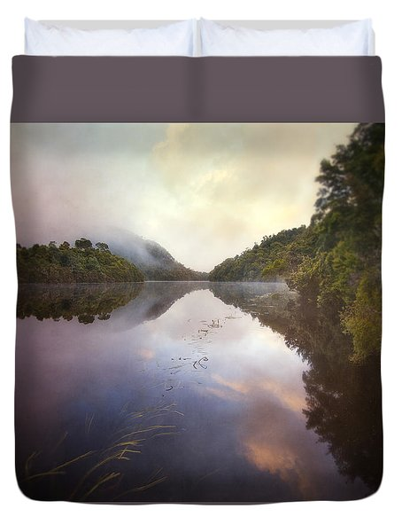 Duvet Cover featuring the photograph River Fire  by Amy Weiss
