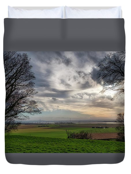 Duvet Cover featuring the photograph River Forth View From Clackmannan Tower by Jeremy Lavender Photography