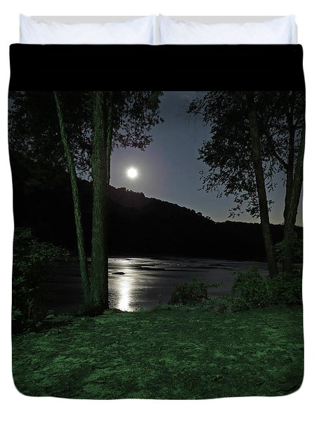 River In Moonlight Duvet Cover