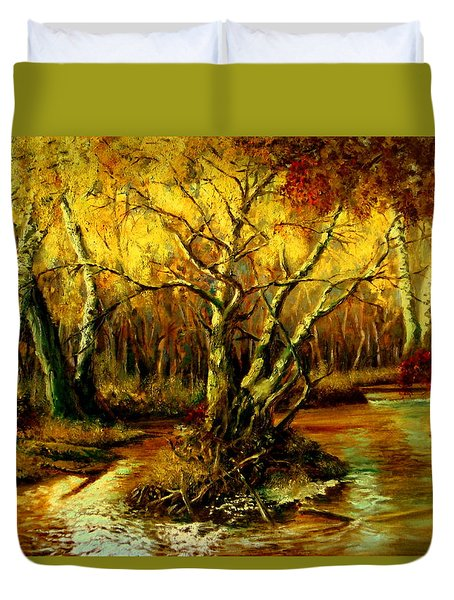 River In The Forest Duvet Cover by Henryk Gorecki