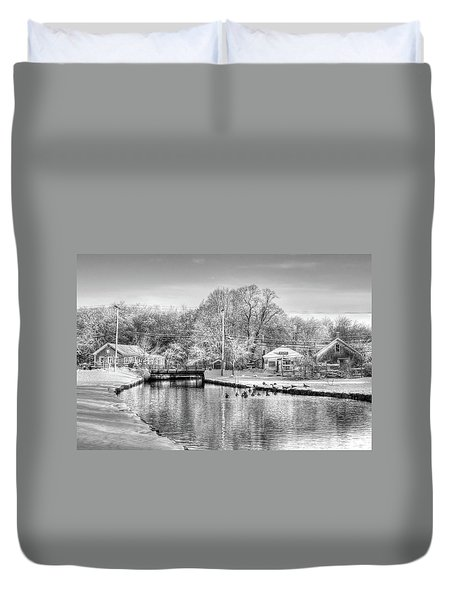 River In The Snow Duvet Cover