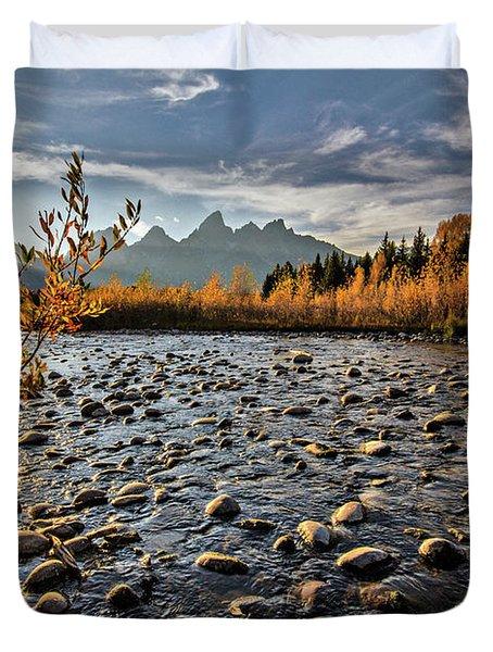River In The Tetons Duvet Cover