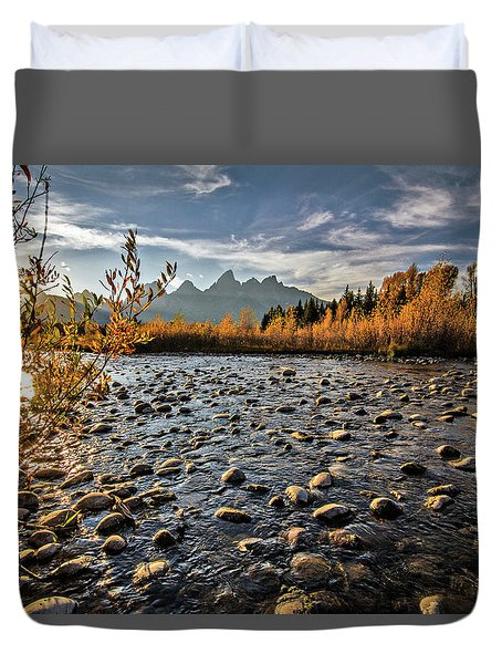River In The Tetons Duvet Cover