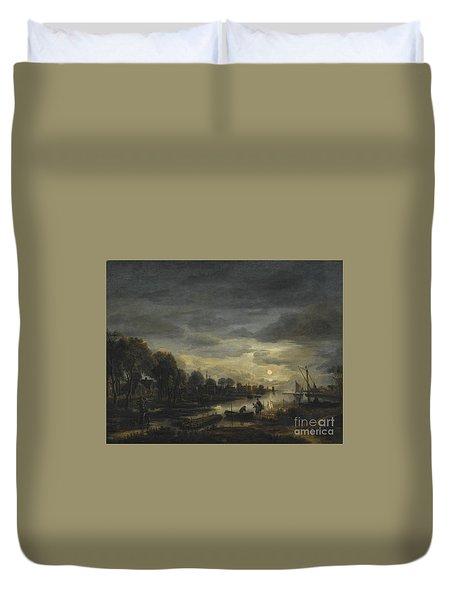River Landscape By Moonlight Duvet Cover by Aert van der Neer