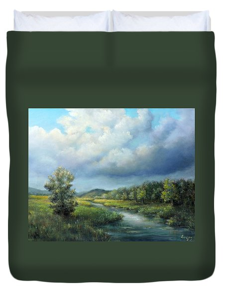 Duvet Cover featuring the painting River Landscape Spring After The Rain by Katalin Luczay
