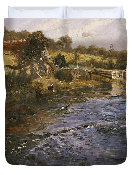 River Landscape With A Washerwoman  Duvet Cover by Fritz Thaulow