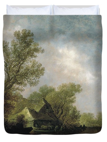 River Landscape With Ferry Boat And Cottages Duvet Cover