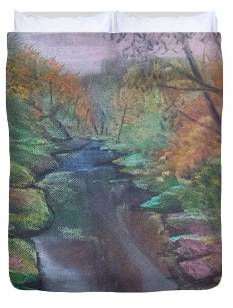 River In The Fall Duvet Cover