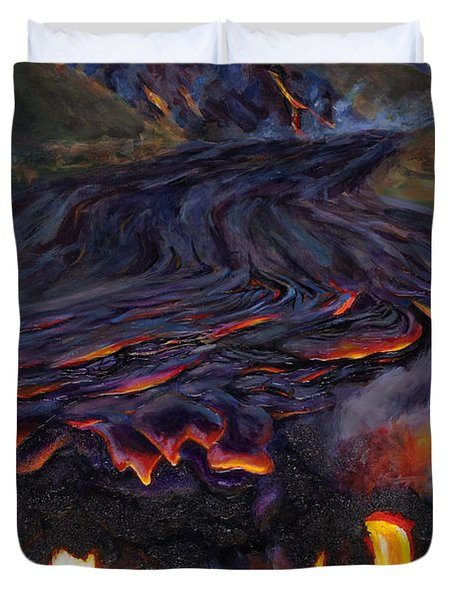 River Of Fire - Kilauea Volcano Eruption Lava Flow Hawaii Contemporary Landscape Decor Duvet Cover