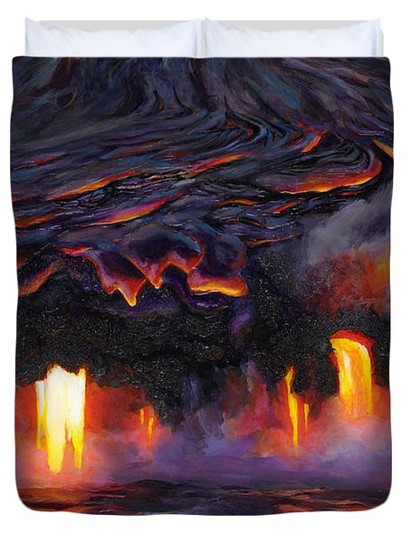 River Of Fire - Kilauea Volcano Eruption Lava Flow Hawaii Contemporary Landscape Decor Duvet Cover