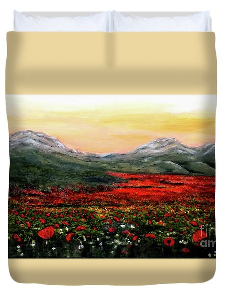 Duvet Cover featuring the painting River Of Poppies by Judy Kirouac