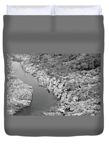River On The Rocks. Bw Version Duvet Cover