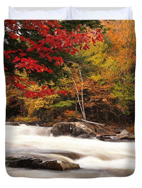 River Rapids Fall Nature Scenery Duvet Cover by Oleksiy Maksymenko
