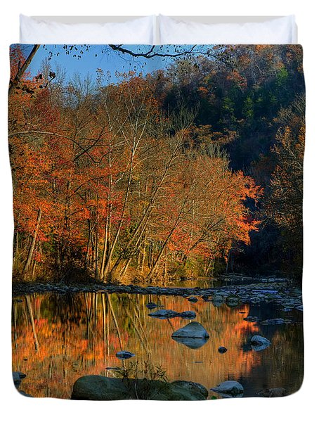 River Reflection Buffalo National River At Ponca Duvet Cover by Michael Dougherty